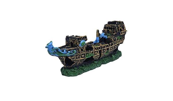 Acuario Decoración barco - SODIAL (R) naufragio acuario Deco Cruise Ship naufragio peces resina 24 x 9,5 x 6,5 cm: Amazon.es: Productos para mascotas