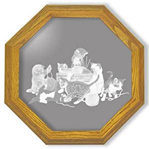"Decorative Framed Mirror Wall Decor With Cute Kittens Etched Mirror - Cute Kittens Decor - Unique Cute Kittens Gift Ideas - Ready To Hang - 28"" octagon"