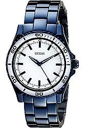 GUESS STEEL W0557L3,Women's Dress,Blue-Tone,White Dial,50m WR