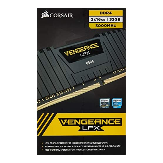 Corsair CMK32GX4M2D3000C16 Vengeance LPX 32GB (2 x 16GB) DDR4 3000 (PC4-24000) C16 1.35V Desktop Memory Black 51J4t8qkNXL. SS555