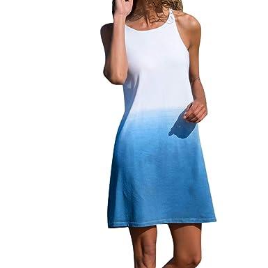 TOPKEAL Casual Vestido Azul de Tirantes Redondo con Degradado ...