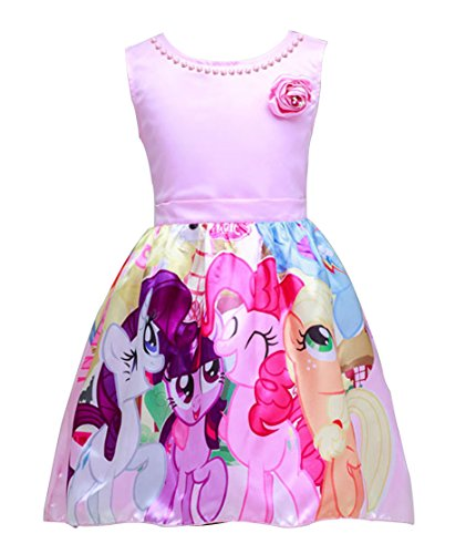 LEMONBABY Unicorn Sleeveless Princess Birthday Party Dress (4-5T, Pink)