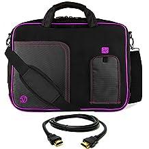 VanGoddy Plum Purple Laptop Messenger Bag + 8FT HDMI Cable for MSI Phantom GS30 13inch Gaming Laptop