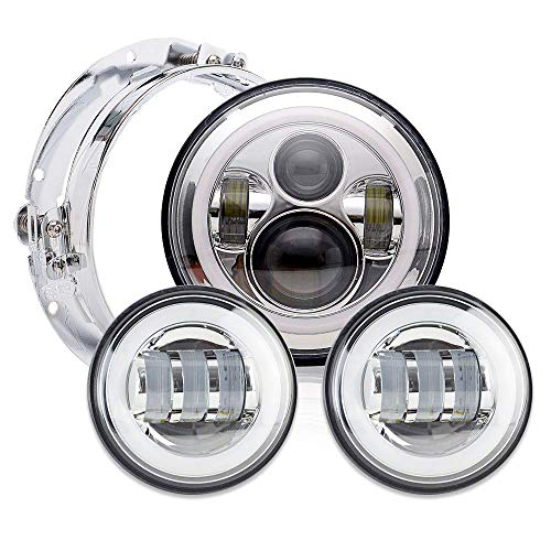 D Headlight Fog Passing Lights Headlamp Kit Set Ring Motorcycle Headlamp for Harley Davidson Road King Ultra Classic Electra Street Glide Tri Cvo Heritage Softail Deluxe Fatboy ()
