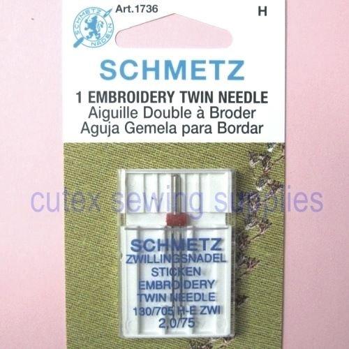 (Schmetz 130/705H-E ZWI Embroidery Twin Sewing Machine Needle Size 2.0/75)