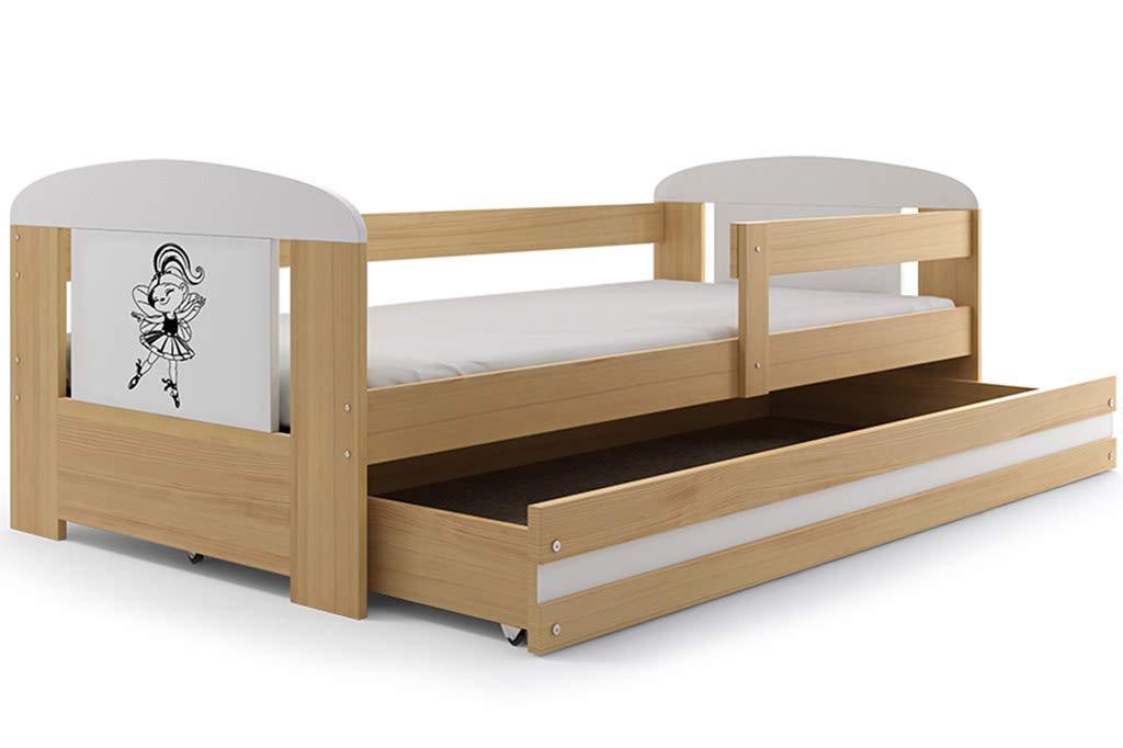 Kinderbett Philip 160x80cm aus Kiefernholz; mit Lattenrost und Matratze, Aufkleber zu wählen (Kiefer + Balletttänzerin)