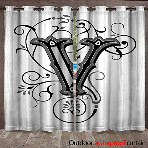 BlountDecor Letter V Outdoor Blackout Curtain Gothic Halloween Style Uppercase V with Curved Lines Ivy Stripes CalligraphyW108 x L96 Black Grey White