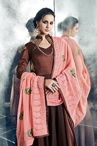 Daindiashop-usa Indien Robe Longue Readymade Kurti Prêt À Porter Pour Les Femmes Porter Partie Code Vestimentaire De Demoiselle D'honneur Costume Mariage Brun 3