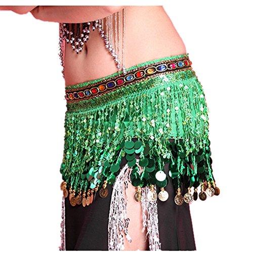 - Forgrace Women's Summer Waist Wrap Sequins Coins Tassel Mini Skirts Belly Dance Hip Scarf Belt One Size Green