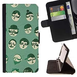 For Samsung Galaxy Note 5 5th N9200 Case , Hipster Barba Bigote Cartoon Gente- la tarjeta de Crédito Slots PU Funda de cuero Monedero caso cubierta de piel