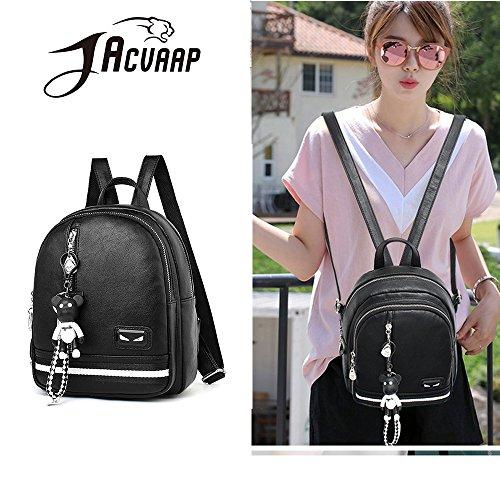 (JVP1074-P) Señoras mochila de cuero PU anillo a prueba de agua para niñas de gran capacidad de viaje bolso moda simple lindo suburbano escuela Negro