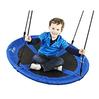 "Flying Squirrel Giant Rope Swing - 40"" Saucer Tree Swing- Additions & Replacements for Active Outdoor Play Equipment - Blue"