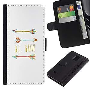 All Phone Most Case / Oferta Especial Cáscara Funda de cuero Monedero Cubierta de proteccion Caso / Wallet Case for Samsung Galaxy Note 4 IV // Believe Quote Teal White
