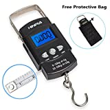 Hinpia Fishing Scale, Hanging Scale, Hinpia Backlit LCD Screen, 110lb./50 kg Capacity With Measuring Tape Portable Electronic Balance Digital Fishing Postal / Kitchen / Luggage /Shopping Scale, Black