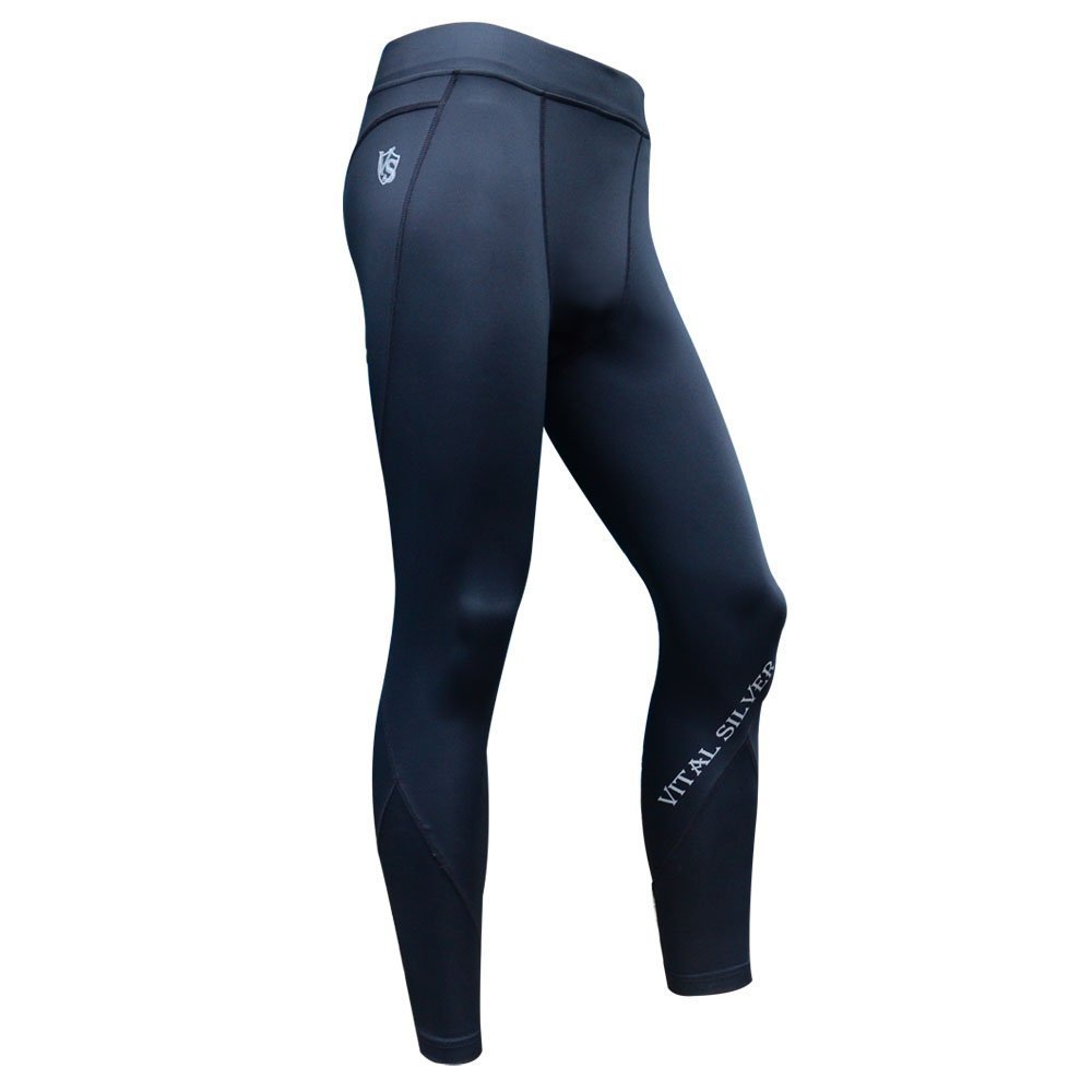 Vital Silver-High Performance for Triathlon Bio Bamboo Charcoal Men's Compression Tights/leggings, Black