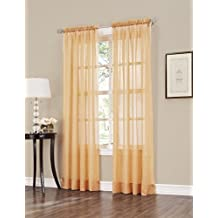 Easy Care Fabrics 2-Piece Sheer Crushed Voile Window Covering/Curtain/Drape/Panel/Treatment, Gold, 51 by 84-Inch