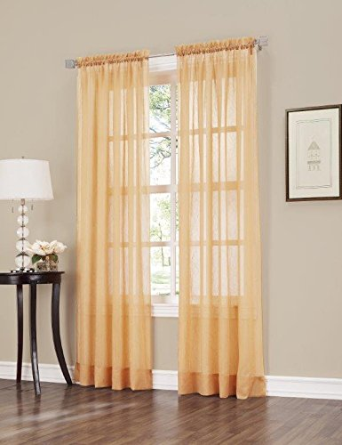 Crushed Voile - Easy Care Fabrics 2-Piece Sheer Crushed Voile Window Covering/Curtain/Drape/Panel/Treatment, Gold, 51 by 84-Inch