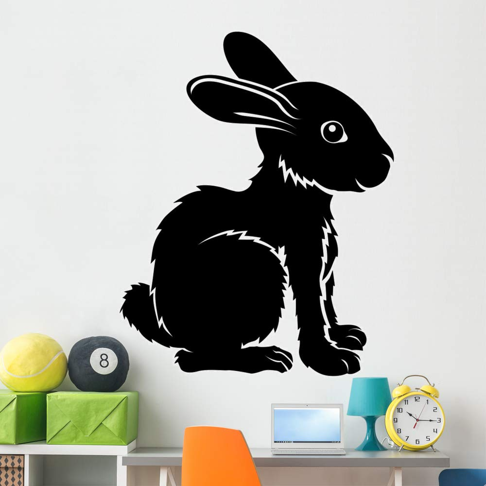 Wallmonkeys Stylised Rabbit Illustration Wall Decal Peel and Stick Animal Graphics (60 in H x 48 in W) WM497135