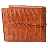 Authentic M Crocodile Skin Men's Bifold Crocodile Tail Skin Leather Tan Wallet (Color: Tan, Tamaño: One Size)