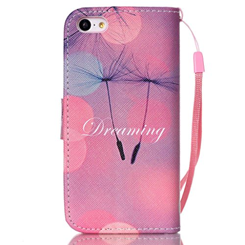 iPhone 5C Coque , Apple iPhone 5C Coque Lifetrut® [ pissenlits Dreaming ] [Wallet Fonction] [stand Feature] Magnetic snap Wallet Wallet Prime Flip Coque Etui pour Apple iPhone 5C