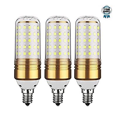 15W LED Corn Bulb,E12 LED Chandelier Bulb,100W Equivalent LED Candelabra Light Bulbs ,E12 Base,6000K White, 1200LM, AC85-265V,Non-dimmable, Pack of 3