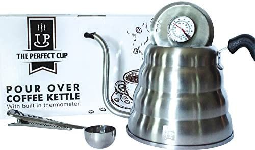 Gooseneck Pour Over coffee and tea kettle with built in thermometer – Large Stainless Steel 40fl oz capacity