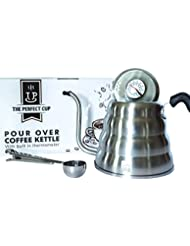 Gooseneck Pour Over Coffee Tea Kettle Built in Thermometer - Large Stainless Steel 40fl oz Capacity