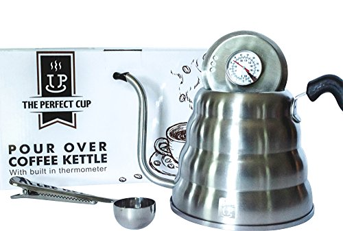 Gooseneck Pour Over coffee and tea kettle with built in thermometer - Large Stainless Steel 40fl oz capacity