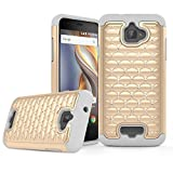 Coolpad Catalyst Case, MPCE Shiny Studded Diamond Rhinestone Crystal Bling Dual Layer Hybrid Cover Silicone Case for Coolpad Catalyst (T-Mobile / MetroPCS, Released in 2016) (Gold/Light Grey)