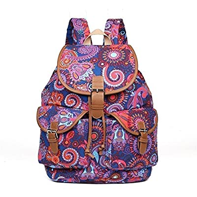 1a660f2d4d7a Hearty Trendy Girls Womens Navy Purple Paisley Print Exterior Pockets  Backpack hot sale