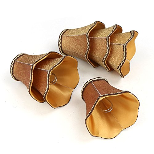 Fabric Chandelier Lamp - Fuloon Modern European Style Clip On Droplight Wall Lamp Candle Chandelier Lamp Shade 6 pcs Set (Coffee)
