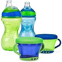 Nuby 4 Piece No-Spill Snack Set, Green/Blue