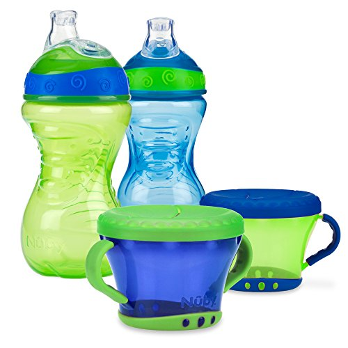 Nuby 4 Piece No-Spill Snack Set, Green/Blue