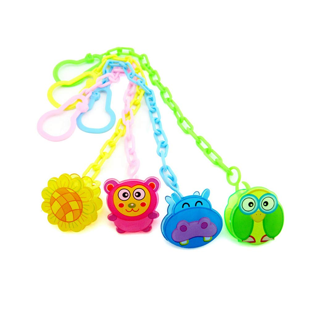 Ffpazig 4pcs Children's pacifier clip chain Cartoon Plastic Baby Play Mouth Chain pacifier pacifier console with Hang Buckle Clip Holder random color, Soothers