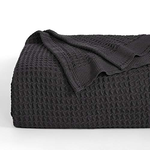 Bedsure 100% Cotton Thermal Blanket - 405GSM Soft Blanket in Waffle Weave for Home Decoration - Perfect for Layering Any Bed for All-Season - Queen Size (90 x 90 inches), Dark Grey