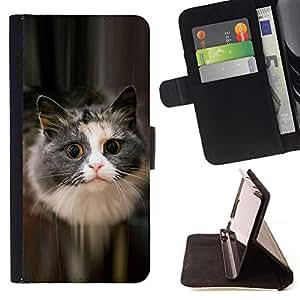 BullDog Case - FOR/Samsung Galaxy S4 IV I9500 / - / cute cat feline pet furry grey longhair /- Monedero de cuero de la PU Llevar cubierta de la caja con el ID Credit Card Slots Flip funda de cuer