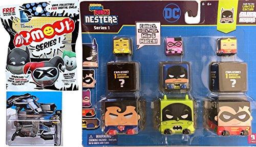 Batman Hot Wheels The Bat DC Comics + Kawaii Cubes Stackable Nesterz Pack 9-Pack Wonder Woman Superman & Mymoji Funko Figure Blind Bag characters collectible toy bundle set