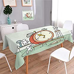 Dining Tablecloth Retro Soft Cotton and Linen Tablecloth,Sketch of Alarm Clock with Working Little People Doodle Cute Miniature Teamwork About Deadline,Photography Background Cloth
