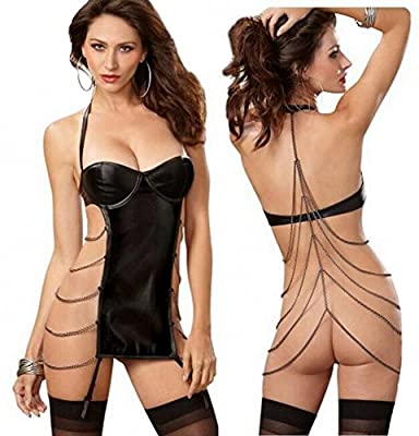 Well Wanted Women Sexy Black Halter Dress Iron Chain Lingerie Patent Leather Underwear