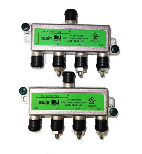 - DirecTV SWM Approved 4-Way Wide Band Splitter (2-Pack)