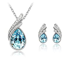 Women 18K White Gold Plated Blue Crystal Heart Shaped Pendant Necklace and Dangle Earrings Jewelry Set