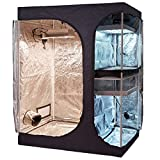 TopoLite 60''x48''x80'' 2-in-1 Indoor Grow Tent Room Propagation and Flower Reflective Mylar Hydroponic Growing Plant Room (60''x48''x80'' Lodge Propagation Tent 2-in-1)