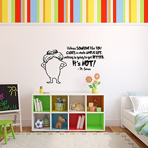 Dr. Seuss The Lorax Character and Quote Unless Someone Like You Care A Whole Awful Lot Vinyl Wall Decal Childrens Book Character Home Decor for Kids Room, Nursery -