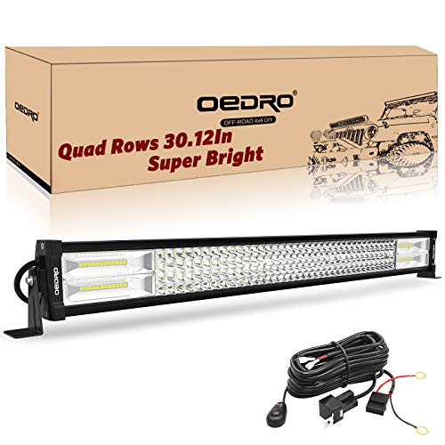 LED Light Bar OEDRO 32 Inch 768W 53760LM Quad-Rows Spot Flood Combo Led Lights Work Lights+Wiring Harness IP68 Grade Off Road Light 12V 24V Fit for Pickup Jeep SUV 4WD 4X4 ATV UTE Truck Tractor etc (Duty Work Heavy Lights)