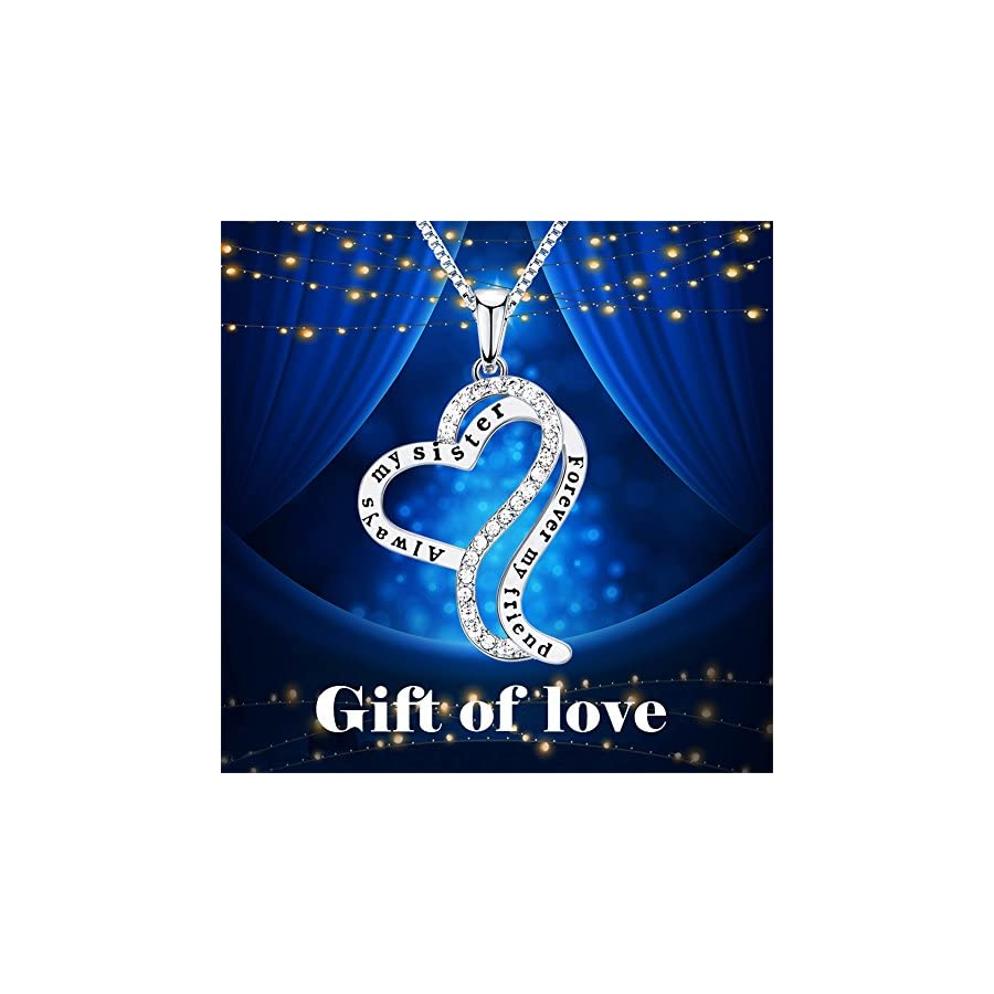 ado glo christmas day gifts always my sister forever my friend love heart pendant necklace