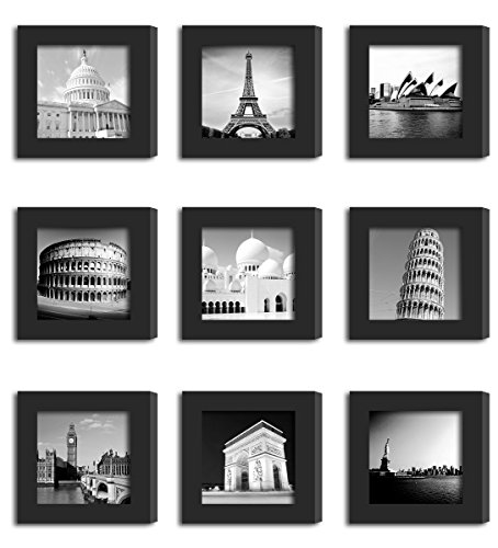 9Pcs 4x4 Real Glass Wood Frame Black Fit Family Image Pictures Photo (Window 3.6 x 3.6 inch ) Desktop Stand or Wall Hang Family Combine Square Green Forest Leaf Grass Landscape Decoration (19-27) by Smart Wall Station (Image #4)