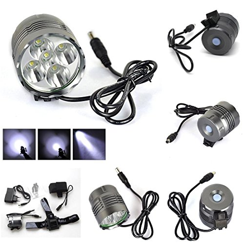 1 Set Deluxe 3 Switch Mode 8000Lm 5x LED Bike Light Camping Lamp Bicycle Torch Rechargeable Color Gray