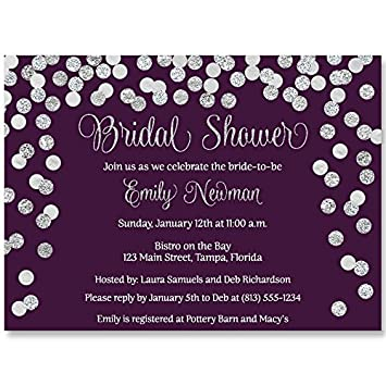 bridal shower invitations plum purple silver confetti glitter wedding shower