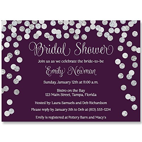 Bridal Shower Invitations, Plum, Purple, Silver, Confetti, Glitter, Wedding Shower, Champagne Brunch, Personalized, Set of 10 Custom Printed Invites with Envelopes, Brunch and Bubbly, Plum