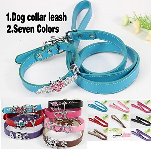 AOBILE(TM) (1 collar + 1 Leashes+Free Charms) Pink Blue Black Purple Red PU Leather 18mm personalized Dog Collar Dog Leashes Dog Leads (Charm 18mm 1)